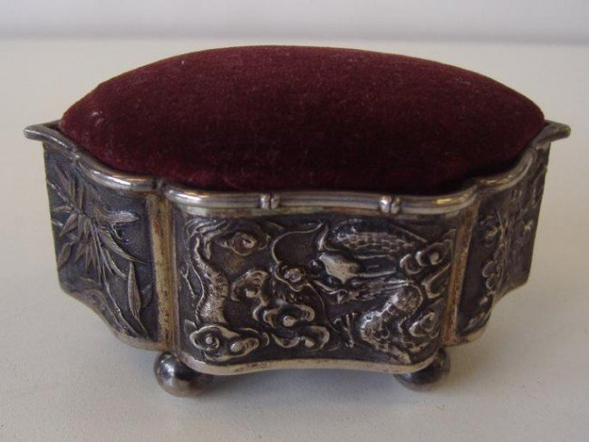10: Chinese Export Silver Pin Cushion Box