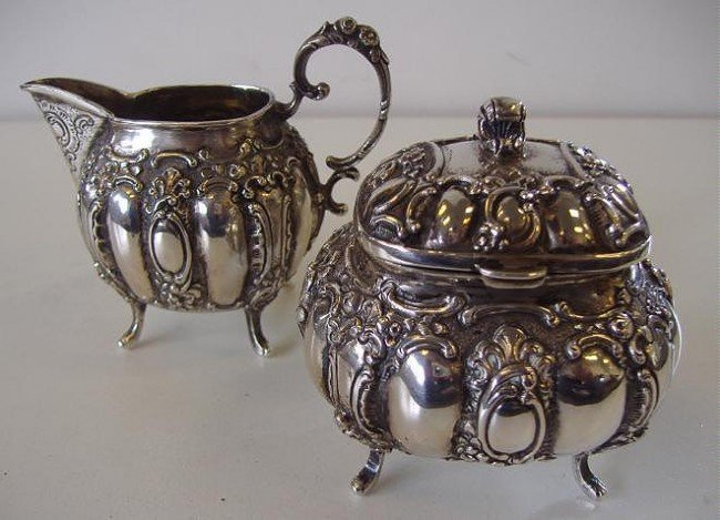 13: 800 Continental Silver Creamer & Sugar marked AMD