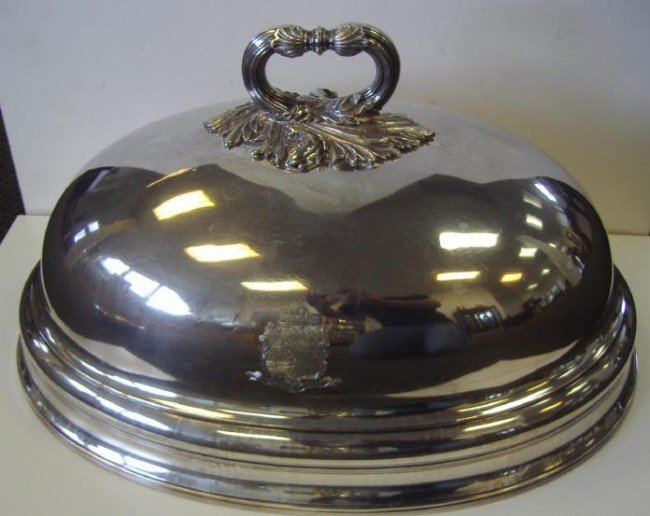 22: Large Sheffield Plate Food Dome with Crest