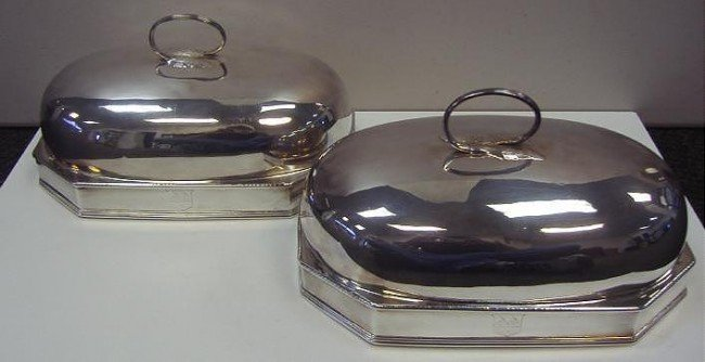 24: Pair of Sheffield Plate Food Domes with Crests