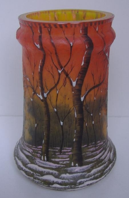 29: Daum Nancy Winter Landscape Cameo Vase