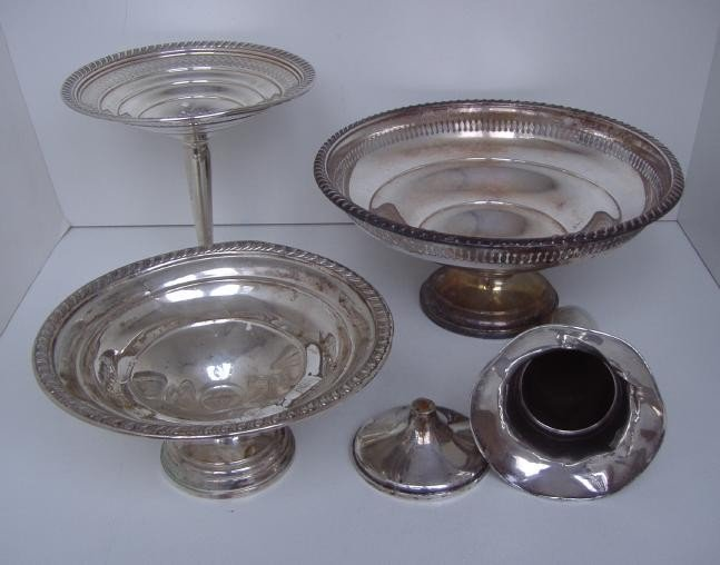 5: Three Sterling Compotes and a Vase