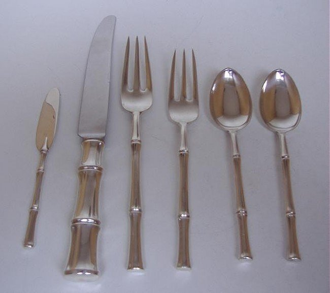 8: Tiffany Sterling Flatware, Bamboo Pattern - 2