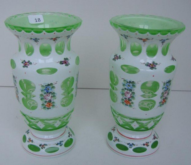 18: Pair of Bohemian Glass Vases