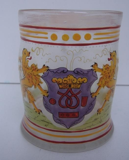 21: 19thc Enameled Glass Mug with Armorial Crest