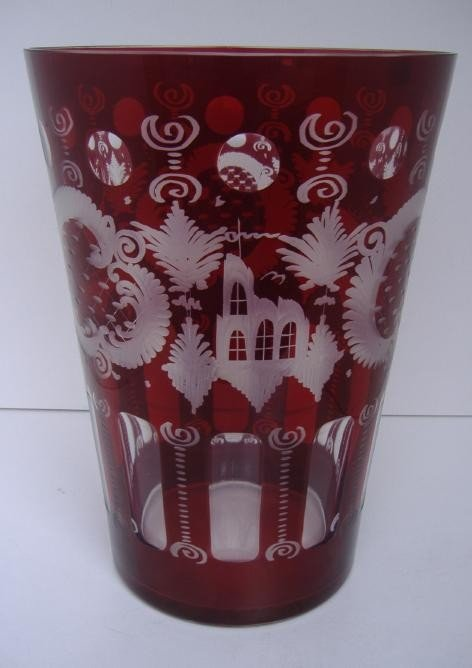 22: Large Bohemian Glass Beaker Vase