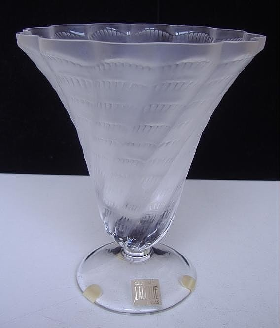"""23: Lalique """"Lucie"""" Frosted Art Glass Vase"""