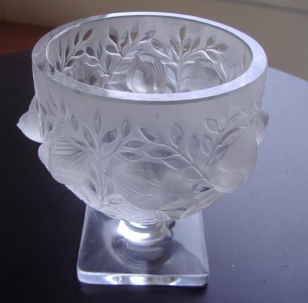 """24: Lalique """"Elizabeth"""" Footed Crystal Vase"""