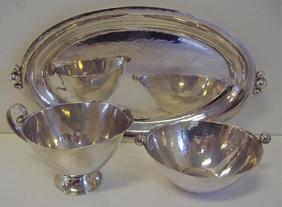 1: Norwegian Silver Tray with Creamer & Sugar Bowl