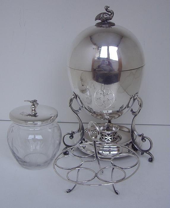 9: Sterling Honey Jar & Silverplated Egg Coddler