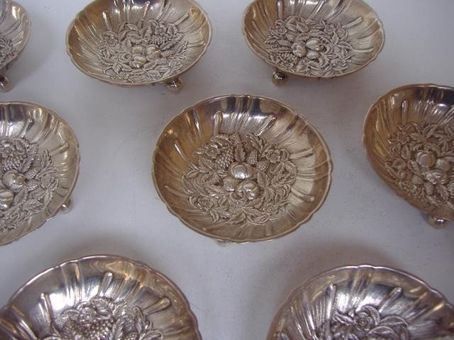 12: Set of 8 Sterling Nut Dishes by S.Kirk & Son