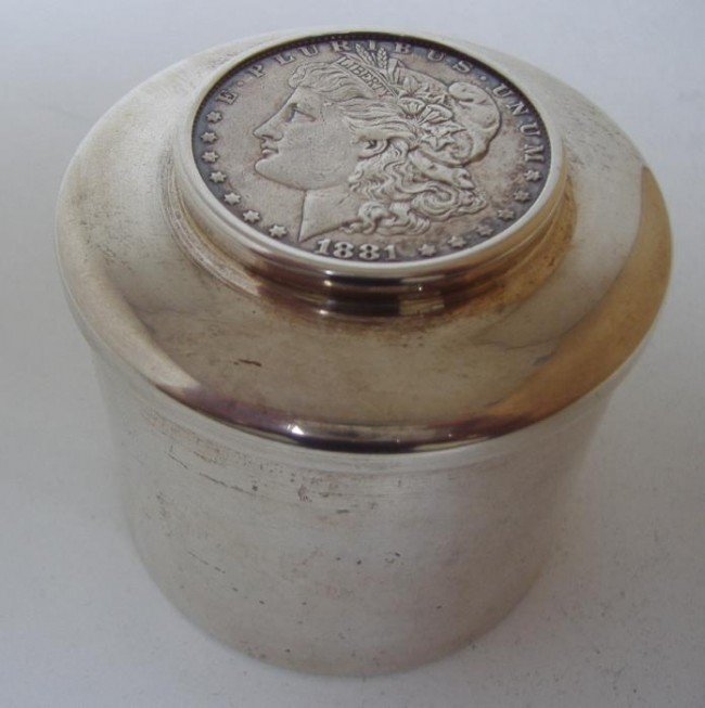 14: Cartier Sterling Paperweight w/1881 Morgan Dollar