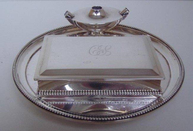 15: George Fox Sterling Box,w/Tray & Lighter, London