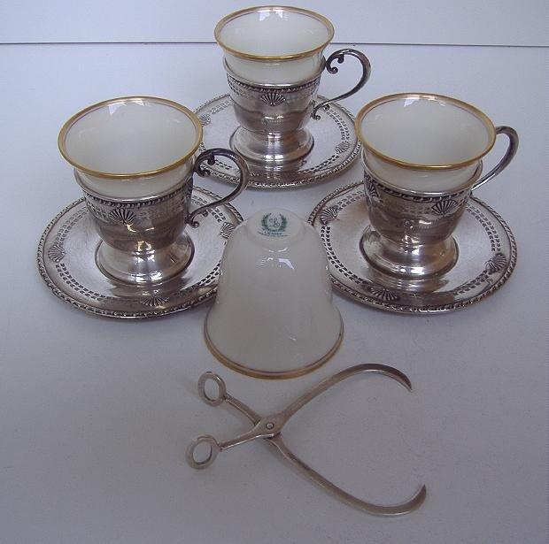 17: 3 Sterling Demitasse Cups/Trays & Sterling Sugar