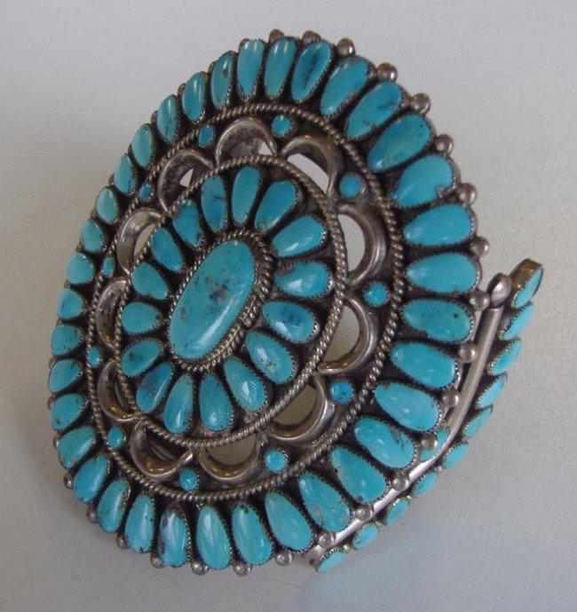 21: Zuni Southwest Turquoise Silver Cluster Bracelet