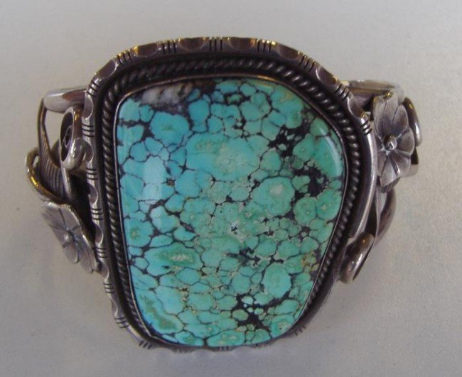 22: Native American Turquoise & Silver Cuff Bracelet