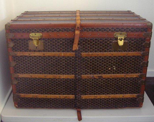 73: Rare Goyard Steamer Trunk Wardrobe Chest