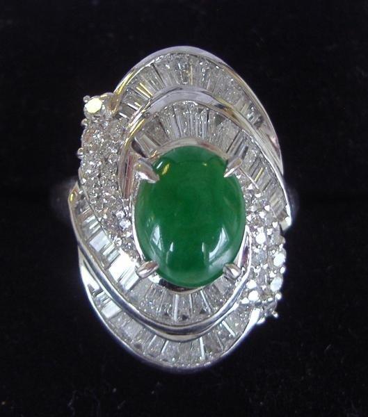 118: Diamond & Jade Stone Ring set in Platinum