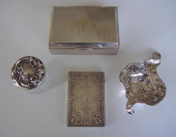 11: Sterling Tea Strainer, Box, Jar & Card Case.