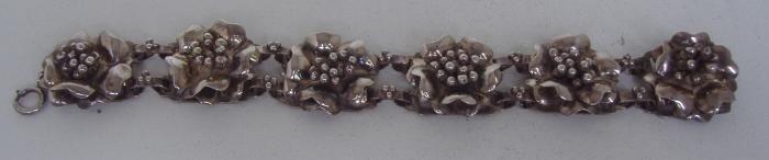 13: Sterling Bracelet by Hobe, Floral Motif