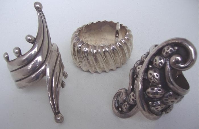19: Three Sterling Modernist Cuff Bracelets,Taxco,etc
