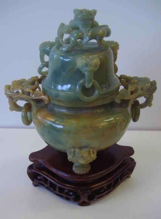24: Chinese Green Hardstone Tripod Vessel