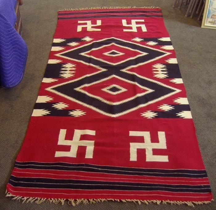 44 Native American Blanket Rug Ancient Swastika Motif