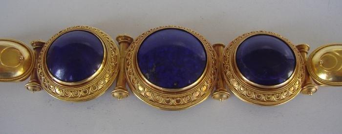 62: 18K Gold & Lapis Lazuli Cuff Bracelet