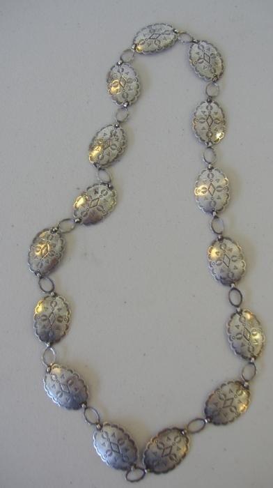 1: Native American Silver Concho Belt/Necklace