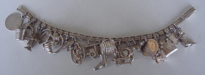 2: Vintage Silver Charm Bracelet, 22 Charms