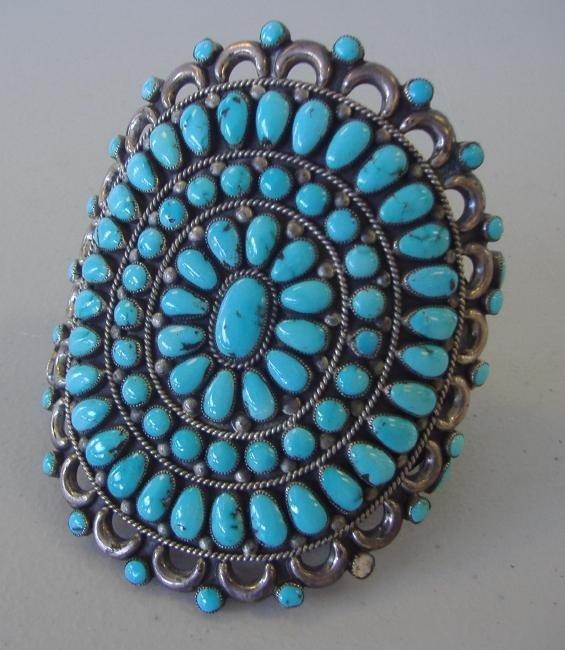 5: Zuni Silver & Turquoise Cluster Cuff Bracelet