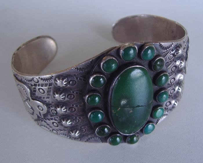 12: Native American Sterling & Stone Cuff Bracelet