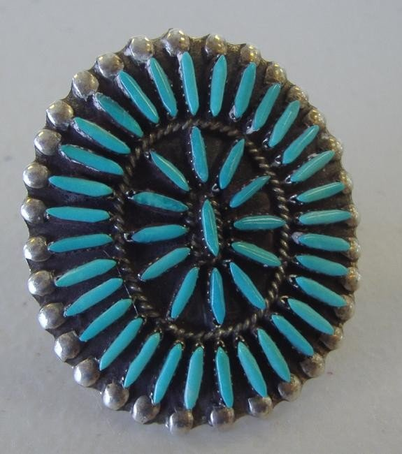 13: Zuni Sterling & Turquoise Ring, signed D. Ghahate