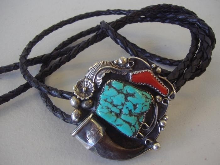 16: Sterling Turquoise & Coral Bolo Tie with Claw