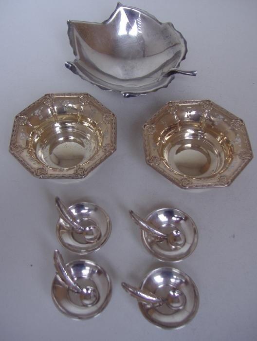 18: Sciarrotta Sterling Leaf Dish, Nut Dishes & Salts