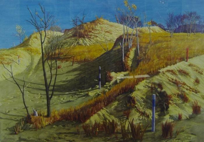 23: Chapman Kelley  (1932 - )  Texas Dunes Watercolor