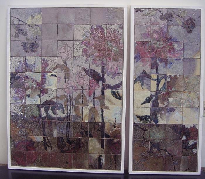 121: AJ & Jack Ferrell NW Ceramic Tile Framed Diptych