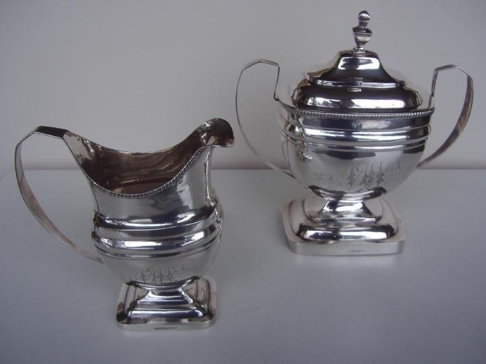 8: Joseph Shoemaker Coin Silver Jug & Sugar Bowl