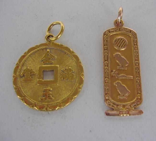 14: Two 14K Gold Asian Themed Pendants