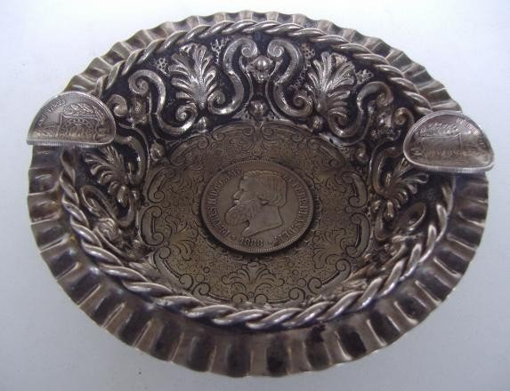 15: Brazilian Silver Cigar Tray with Dom Pedro Coin