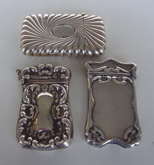 19: Three Sterling Vesta Cases or Match Safes