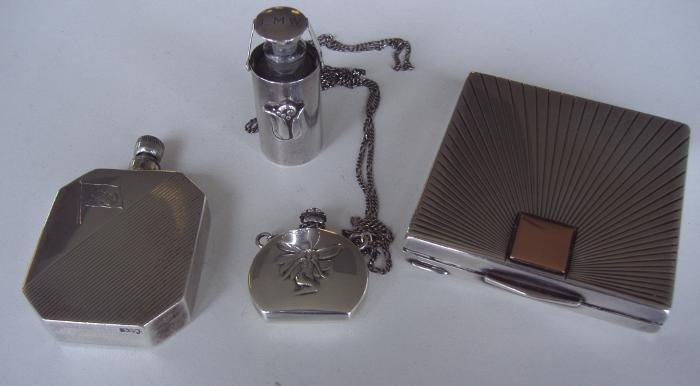 24: 3 Art Nouveau Sterling Scent Perfumes & Compact 14K