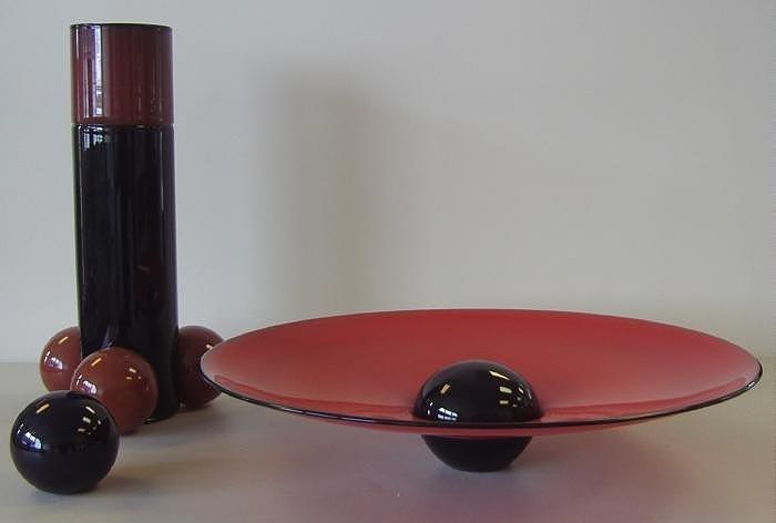 151: Benjamin Moore Palla Series 3-pc Glass Sculpture