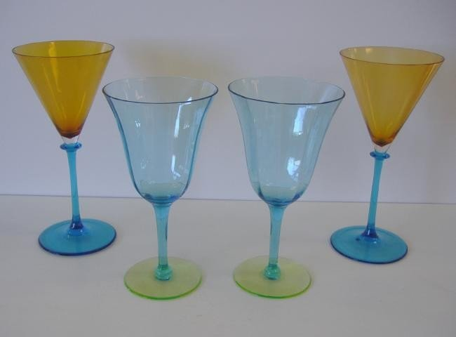2: 4 Steuben Colored Glass Goblets