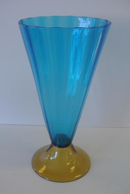 3: Steuben Blue & Amber Glass Footed Vase #3215
