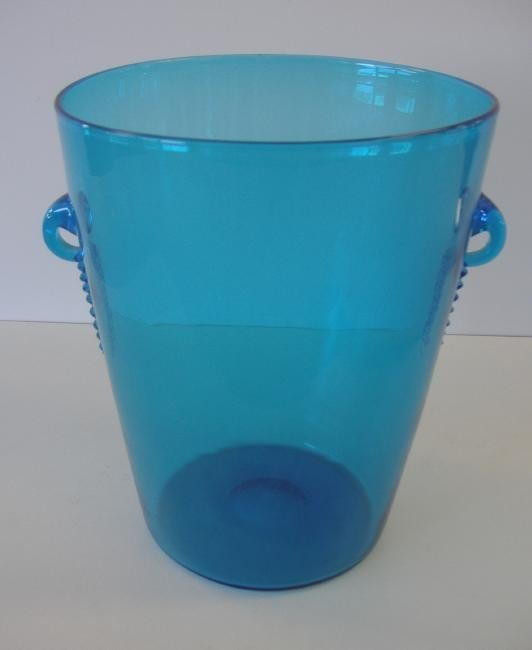4: Steuben Blue Glass Handled Vase Ice Bucket,signed