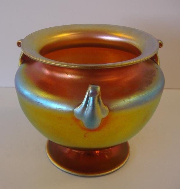5: Steuben Aurene 3 Handled Vase, #6627, signed