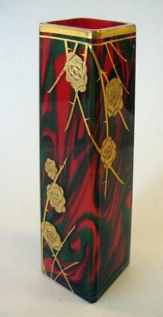 11: Art Nouveau Double Cased Glass Vase