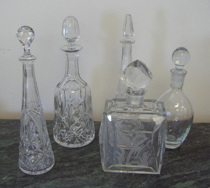 18: Five Crystal Decanters, Art Deco, Crystal, etc