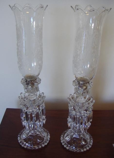 19: Pair of Baccarat Crystal Lusters & Etched Shades